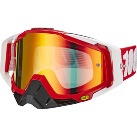 100% Racecraft Anti Fog Mirror goggles, fire red